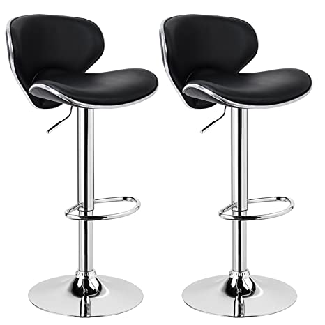 Swell Woltu Bar Stools Black Bar Chairs Breakfast Dining Stools For Kitchen Island Counter Bar Stools Set Of 2 Pcs Leatherette Exterior Adjustable Swivel Ncnpc Chair Design For Home Ncnpcorg