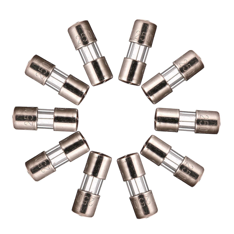 BOJACK Mini fusibili 3,6x10 mm 2,5 A 250 V 0,14x0,39 pollici 2,5 amp 250 Volt F2,5AL250V Fusibili in vetro a soffiaggio rapido confezione da 20 pezzi