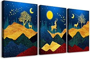 Abstract Canvas Wall Art for Living Room Bathroom Wall Decor golden Mountain Watercolor Paintings Artwork 3 Pieces Framed Bedroom Wall Decorations blue sky elk and Trees Pictures Office Home Decor