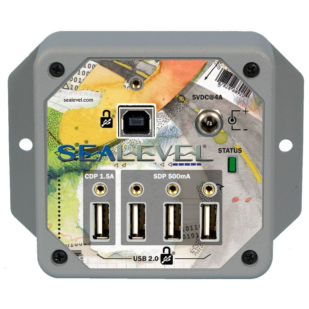 Sealevel High Speed 4-Port USB 2.0 Hub with Battery Charging Downstream Port and SeaLATCH Locking USB Ports; Includes SeaLATCH Locking USB Device Cable and 5VDC @ 4A Power Supply