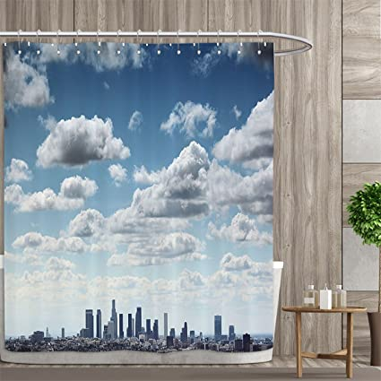 Amazon apartment decor collection shower curtains digital apartment decor collection shower curtains digital printing downtown los angeles skyline under summer sky with scenic reheart Image collections