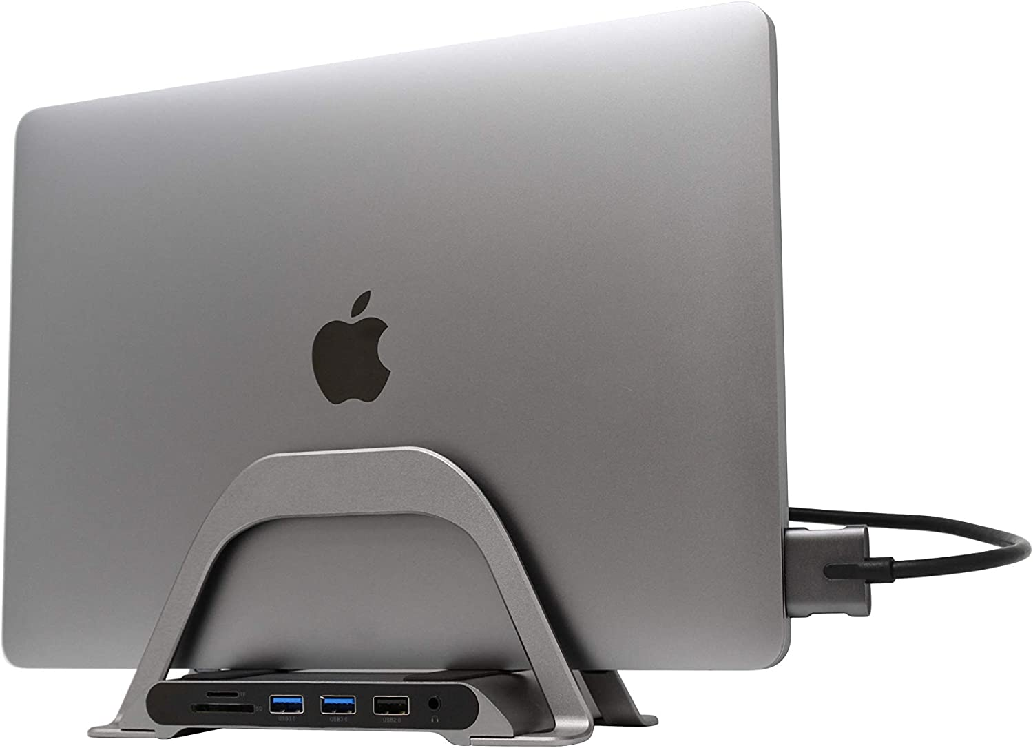 HumanCentric Vertical Stand for MacBook with Integrated 10-in-1 Dual Display Hub – USB-C Docking Station for MacBooks | USB-C Hub for MacBook Only
