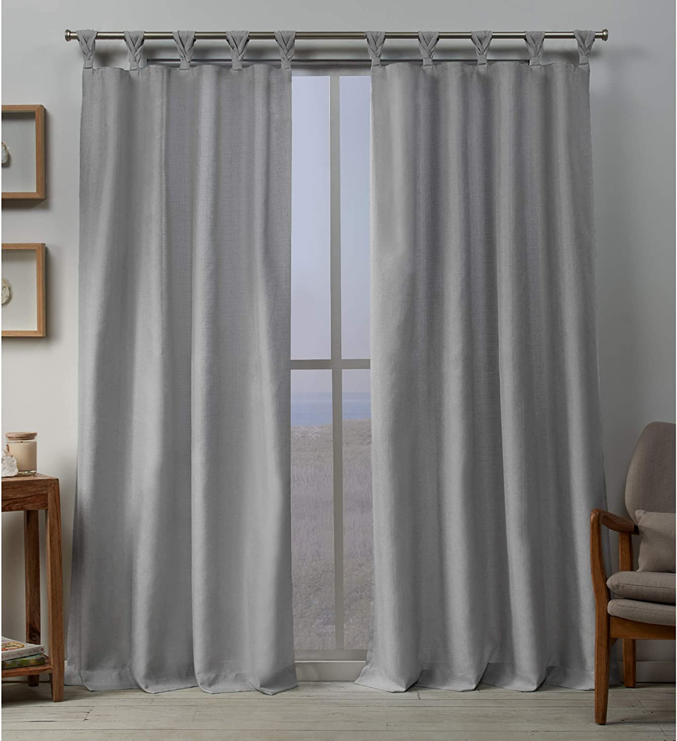 Exclusive Home Curtains Loha Linen Braided Tab Top Curtain Panel Pair, 54x96, Dove Grey