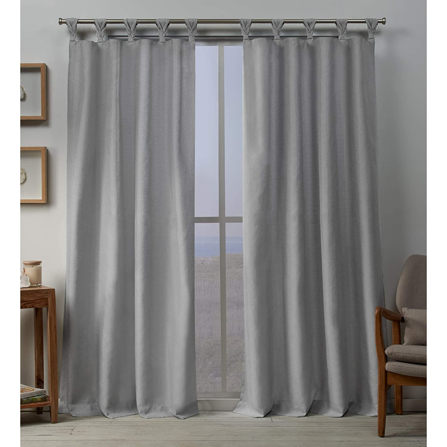 Exclusive Home Curtains Loha Linen Braided Tab Top Curtain Panel Pair, 54x84, Dove Grey