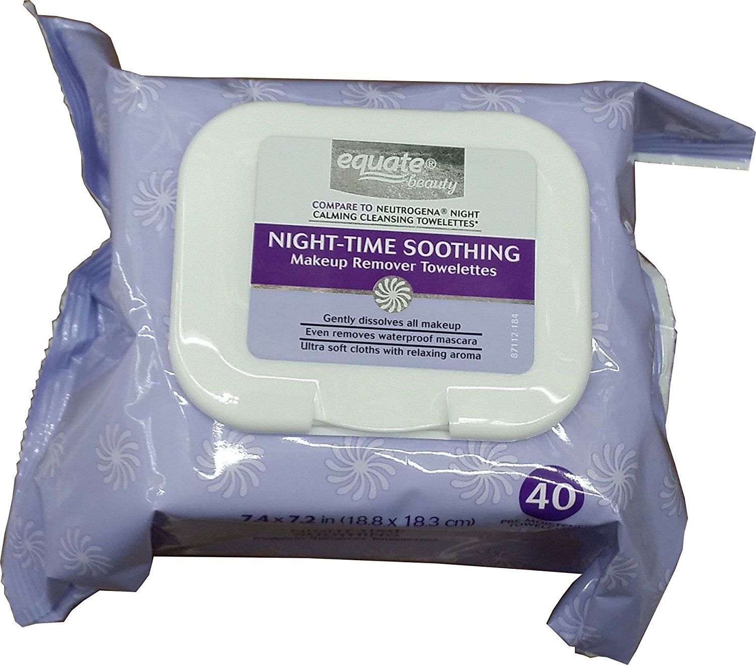 Equate Beauty Night,Time Soothing Makeup Remover Towelettes, 40 sheets