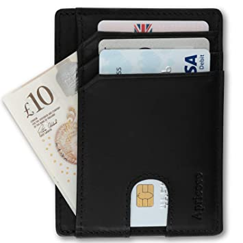 APRICOCO Minimalist Card Holder RFID Blocking Slim Wallet with Gift Box  Holds 9 Cards and Bank Notes
