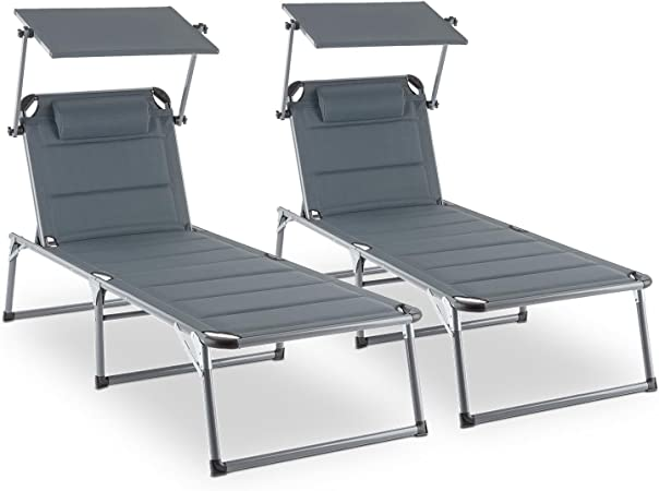 beige Blumfeldt Amalfi Set transat 2 chaises longues rembourrées dossiers réglables, 5 positions, assise ou allongée, pare-soleils réglables individuellement