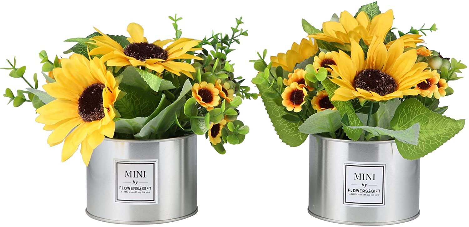 LUEUR Artificial Sunflowers in Pot, Artificial Silk Sunflower w/Metal Pot Bonsai, Artificial Flowers in Metal Vase Fake Sunflower Bouquet with Vase Daisy Arrangement for Home Decor Wedding Decoration