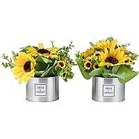 LUEUR Artificial Sunflowers in Pot, Artificial Silk Sunflower w/Metal Pot Bonsai, Artificial Flowers in Metal Vase Fake…