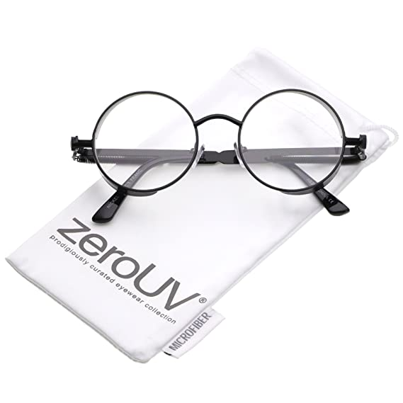ee329987d Amazon.com: zeroUV - Steampunk Metal Side Cover Spring Screw Arms Flat Lens Round  Sunglasses 42mm (Black/Clear): Clothing