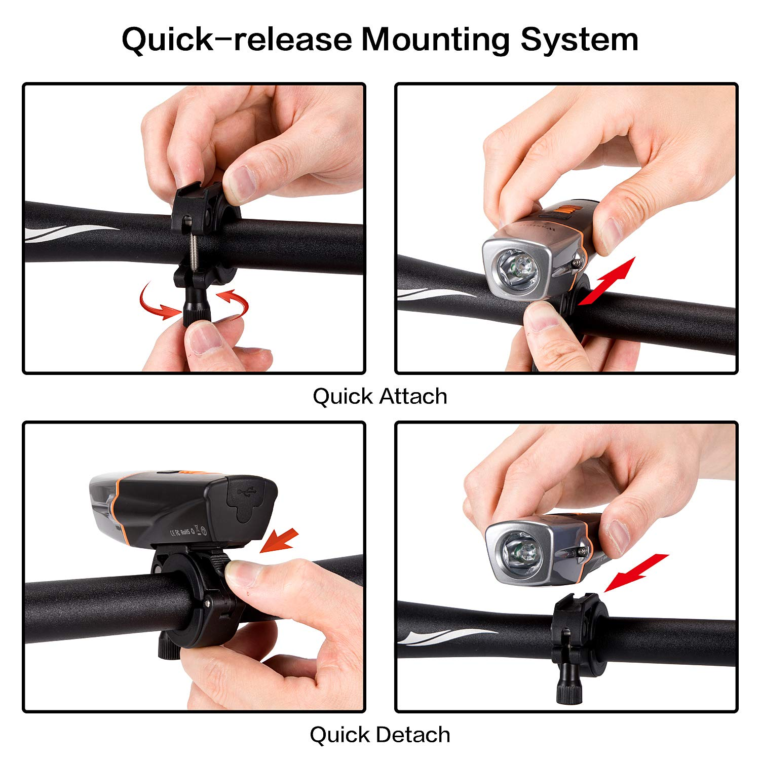 Mountain Runtime 10+ Hours 600 Lumen Super Bright Headlight Front Lights and Bike Taillight Road Updated 2019 Version 6 Light Mode Fits All Bicycles Wastou USB Rechargeable Bike Light Set