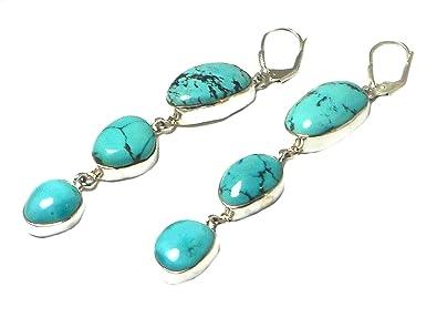 f93effc13 Tibetan TURQUOISE Sterling Silver Gemstone Earrings 925 ...