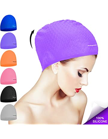 20d03f13f72 Msicyness Swim Cap for Long Curly Hair Silicone Swimming Hat for Adult  Swimming Pool Laps