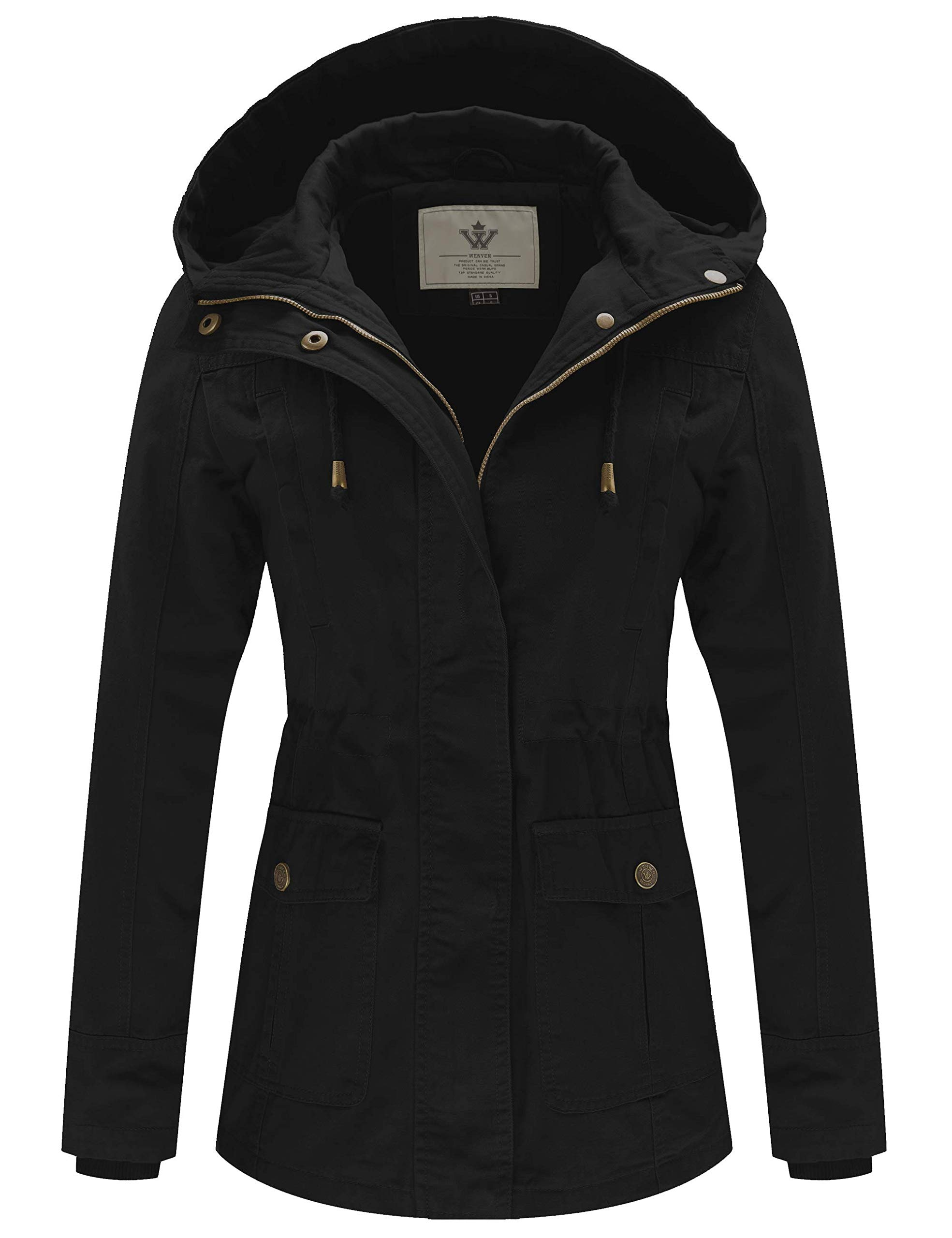 WenVen Women's Spring Cotton Military Coat Anorak Hooded Jacket(Black, L) by WenVen