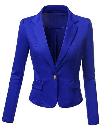 3d57aa7079de5 SJSP Women Plus-Size Single Breasted Fitted Blazer Jacket Royalblue ...