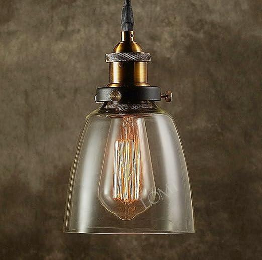 Lámpara de techo colgante de cristal con base metálica – Lámparas estilo industrial de bronce, hierro y vidrio de fácil instalación – Iluminación de ...