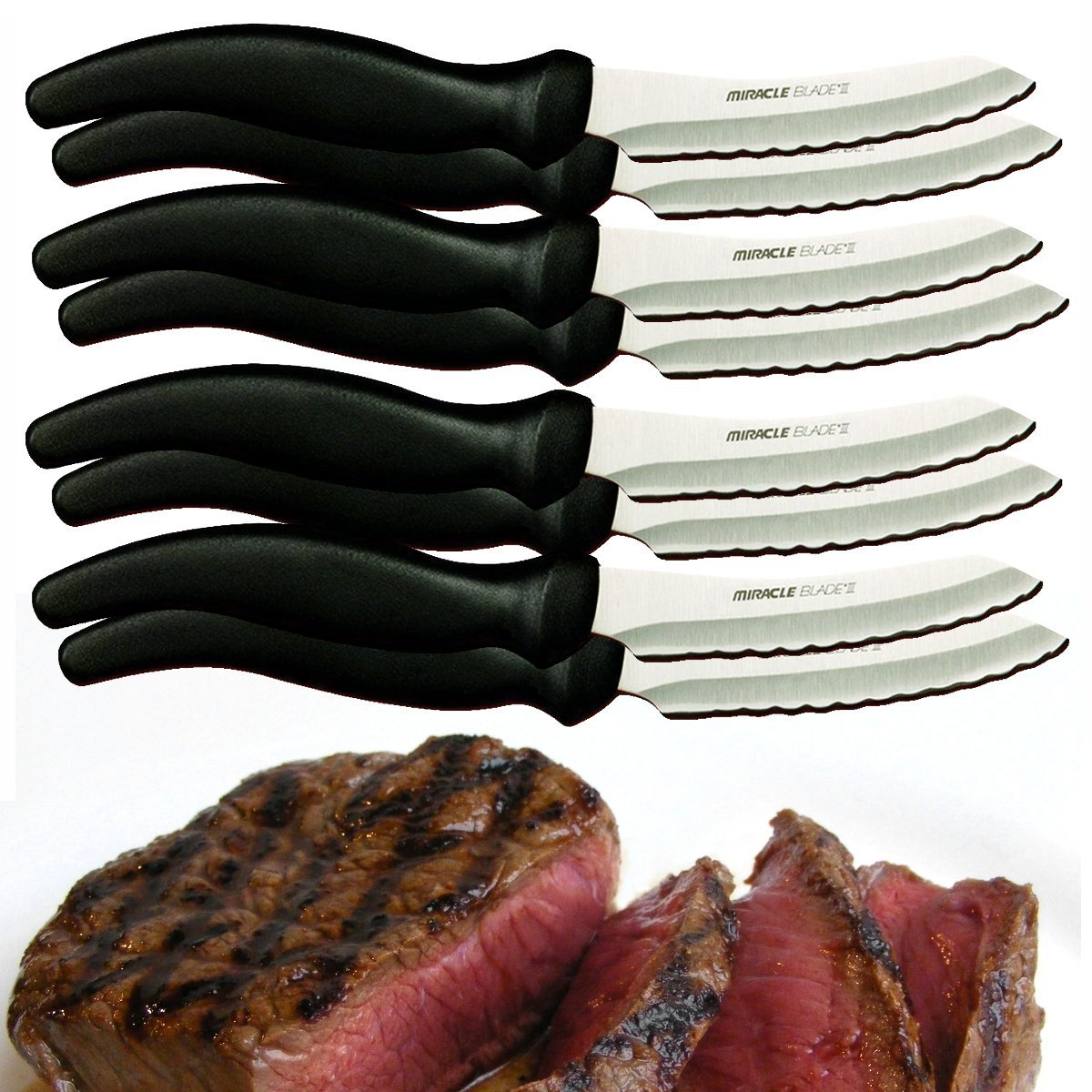 8pc Miracle Blade III Perfection Series Knife Set Stainless Steel Cutlery Steak Knives