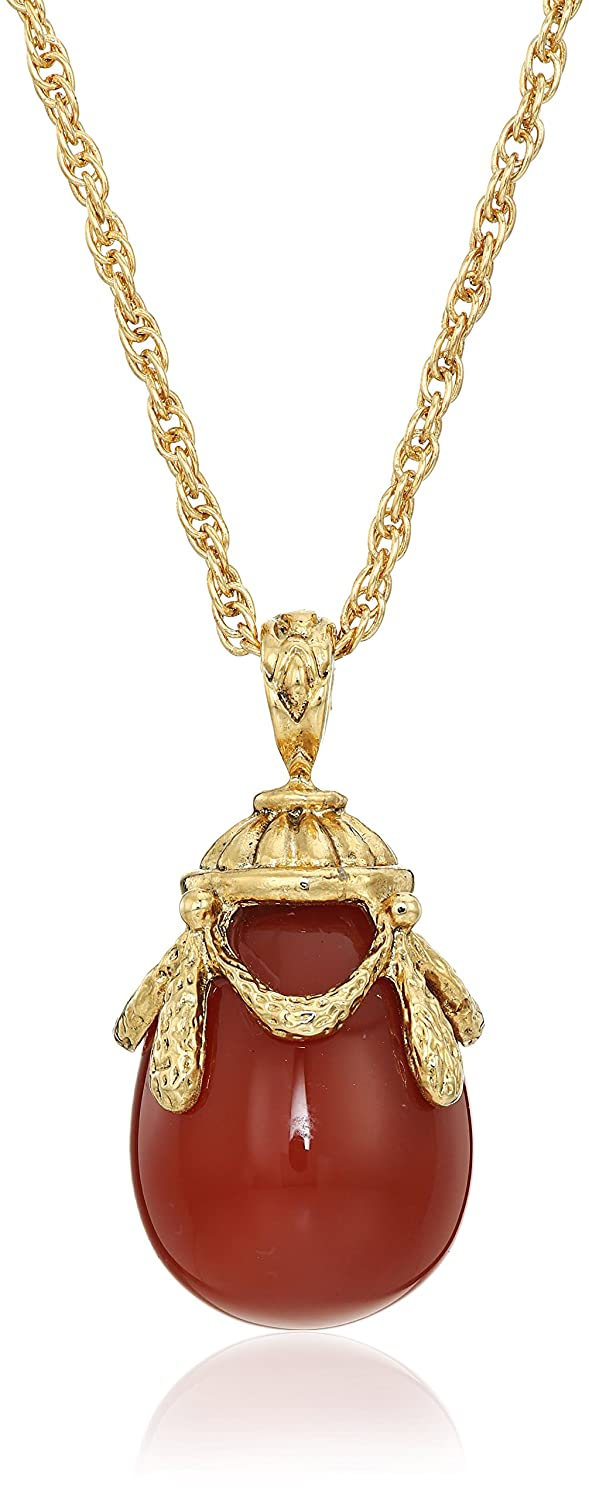 1928 Jewelry 14k Gold-Dipped Semi-Precious Egg Pendant Necklace, 30