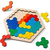 Coogam Wooden Hexagon Puzzle for Kid Adults - Shape Block Tangram Brain Teaser Toy Geometry Logic IQ Game STEM…