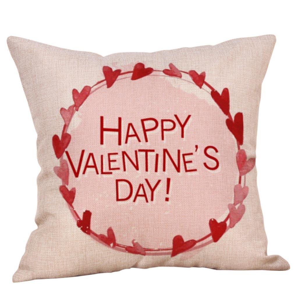 Tiean Happy Valentine Pillow Cases Linen Sofa Cushion Cover Home Decor Pillow Case (A)