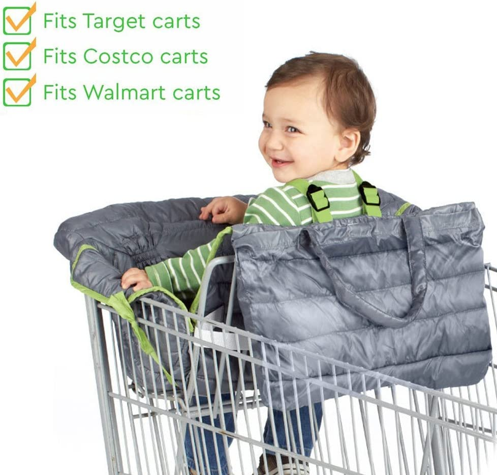 Baby Highchair Travel Seats Cover Toddler Safety Harness Portable Shopping Cart Cover,White
