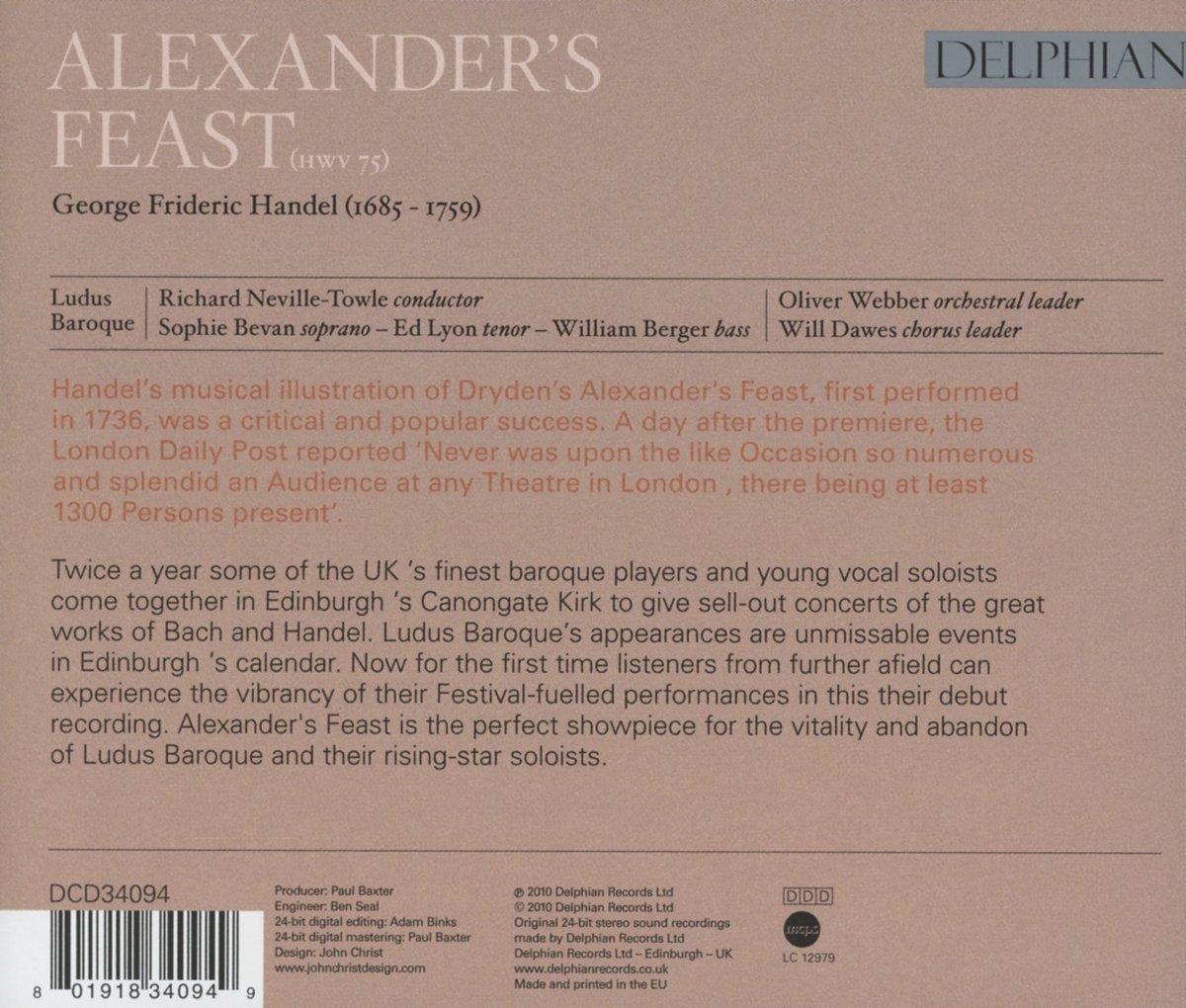 George Frideric Handel, Richard Neville-Towle, Ludus Baroque, Sophie Bevan, Ed Lyon, William Berger - Handel: Alexanders Feast - Amazon.com Music