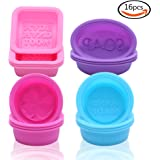 LoveS 16-pack Square Round Oval Soap Molds - Food-grade Silicone Handmade Mold / Baking Mold