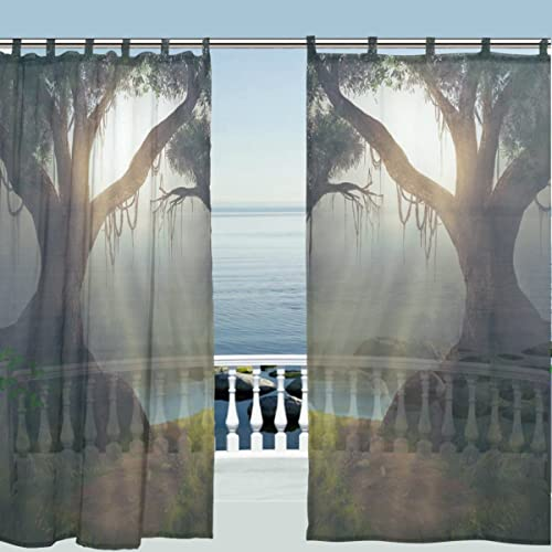 Editors' Choice: ALAZA Window Curtain Sheer Panels,Nature Landscape Green Forest Tree Leaves,Door Window Treatments Sheer Curtains Gauze Curtains Living Room Bedroom Window Tie Top Curtain 55×78 inch Two Panels Set