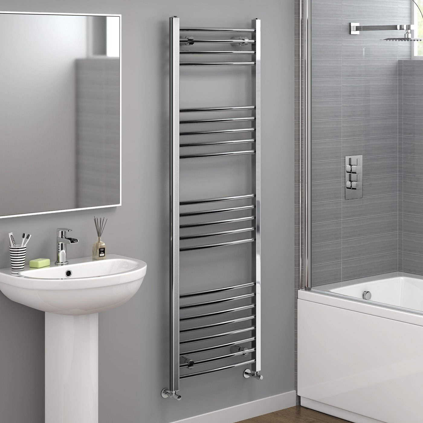1600x500mm Chrome Curved Towel Radiator Ladder Modern Bathroom NC1600500 iBathUK