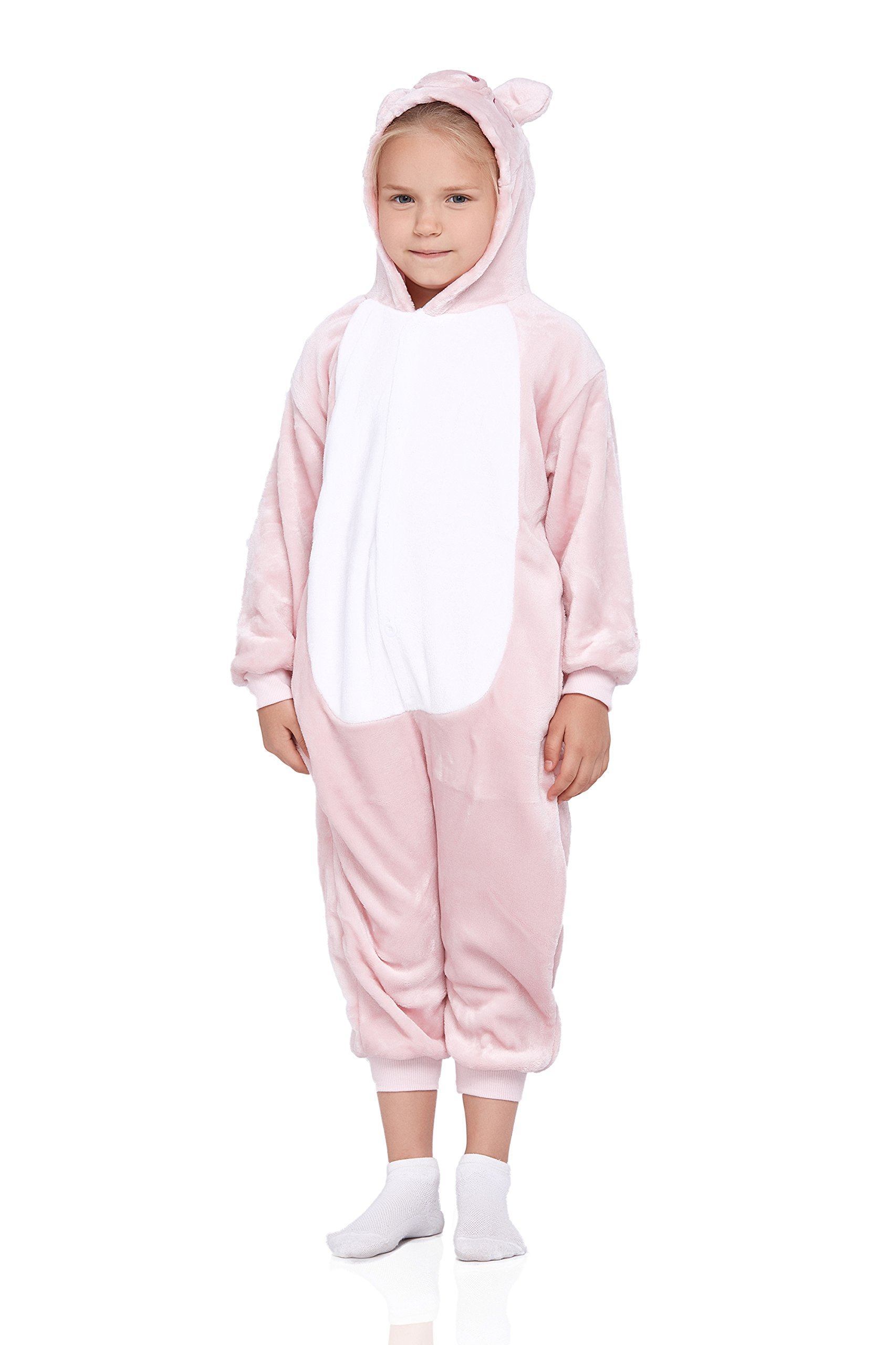 Kids Piglet Pajamas Animal Onesie Kigurumi Plush Soft One Piece Cosplay Costume (Large, Cream pink)