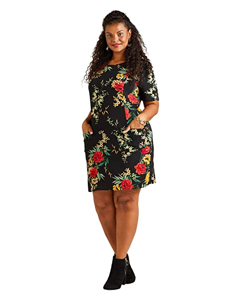 13dd18bdd6f Yumi Curves Black Oriental Blossom Tunic Dress with Pockets  Amazon.co.uk   Clothing