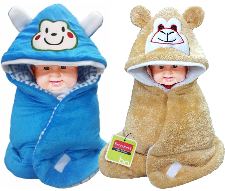 BRANDONN Fur 3-in-1 Baby Wrapper, Blanket and Sleeping Bag (Beige/Blue, Pack of 2)
