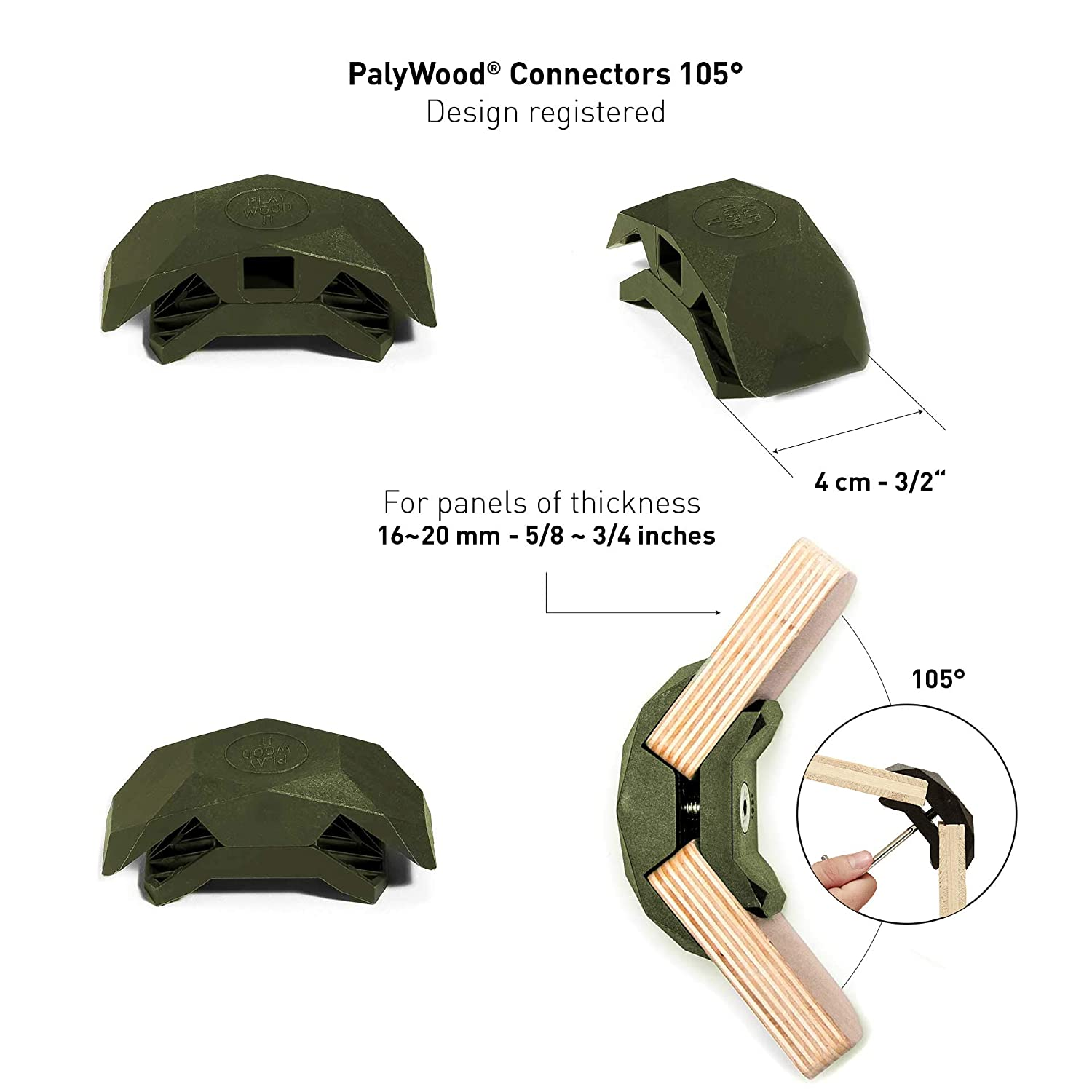 PlayWood Connector for Tool-Free Furniture /& Storage Assembly White, 90 Degree