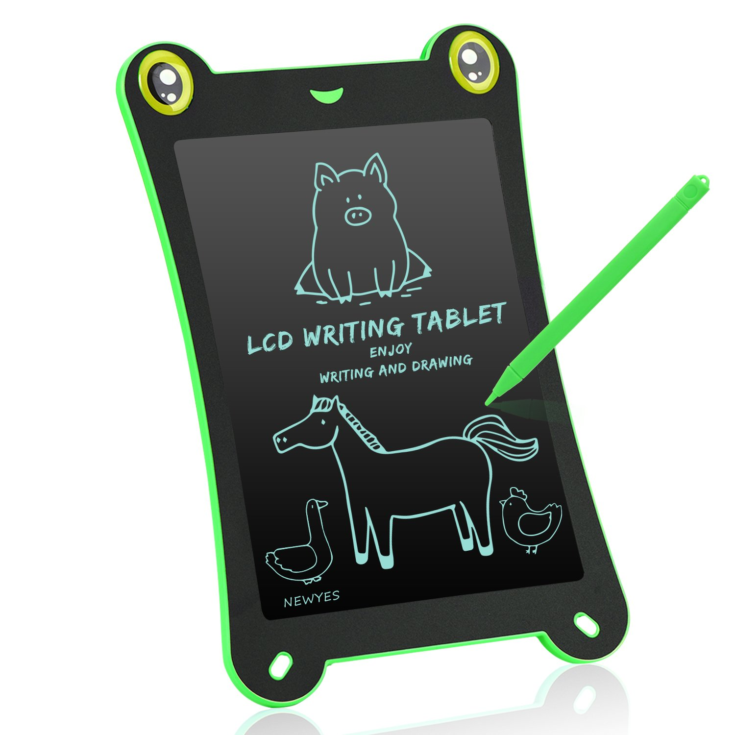 NEWYES Children's Cute Board LCD Writing Tablet NYF850 8.5 Inch Frog Handwriting Tablet Graphic Drawing Board Digital Portable Magnetic Durable Touch Pad Boards for kids 1 Year Warranty (green-frog)