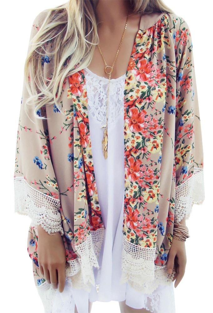 Sierry Women's Bikini Cover up Loose Floral Print Chiffon Kimono Cardigan Capes CLO-013-2