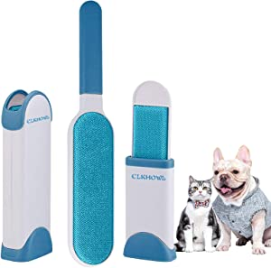 Pet Hair Remover Brush Double-Sided - Fur & Lint Removal Brush with Self-Cleaning Base, Dog & Cat Hair Remover for Furniture, Couch, Carpet, Bed, Car Seat and Clothing…