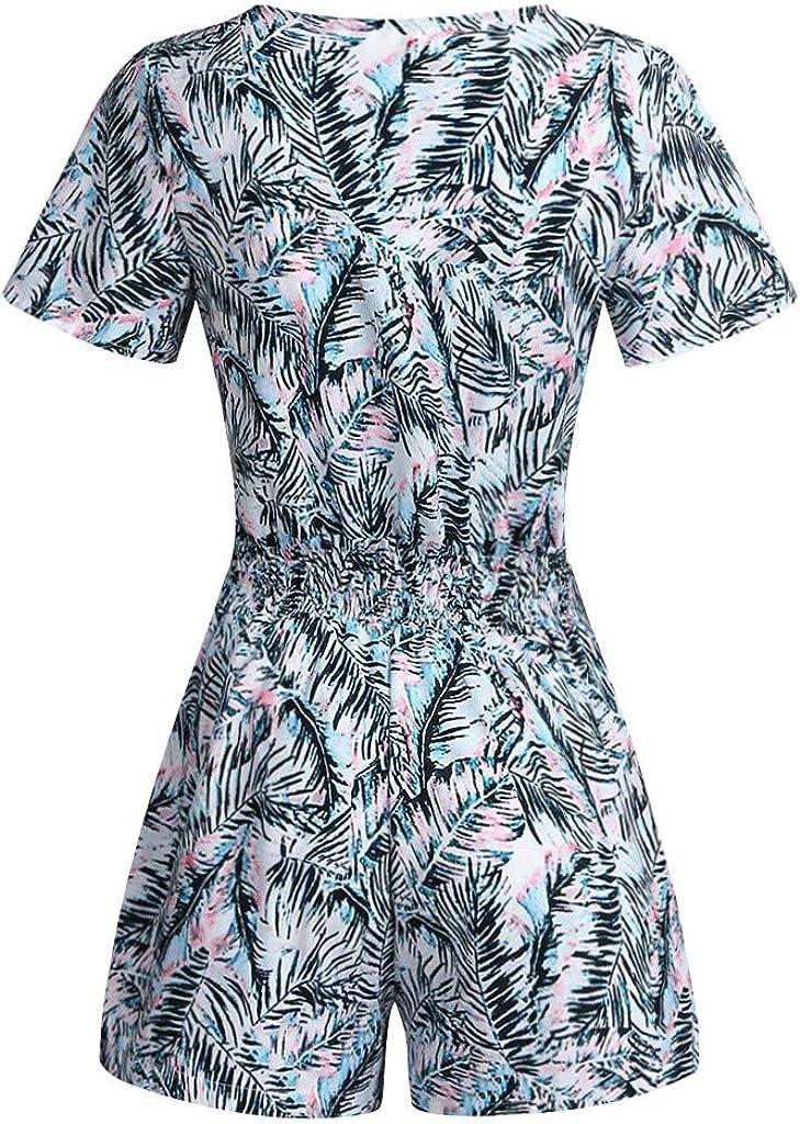 Dream SZ Womens Jumpsuit Summer Leaves Print Short Sleeve Button Short Paragraph Jumpsuit