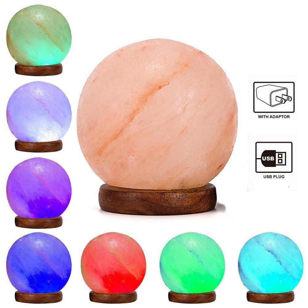 Niubity Himalayan Pink Natural Salt Lamp,USB Wooden Base Himalayan Crystal Rock Salt Lamp Air Purifier Night Light (Ball)