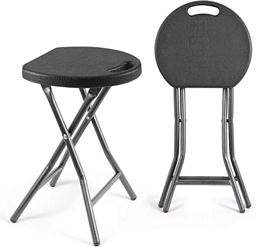 Amazon Com Tavr Portable Folding Stool 18 1 Inch Set Of 2 Heavy Duty Fold Up Stool Metal And Plastic Foldable Stool For Adults Kitchen Garden Bathroom Collapsible Round Stool 300lbs Capacity Black Furniture Decor