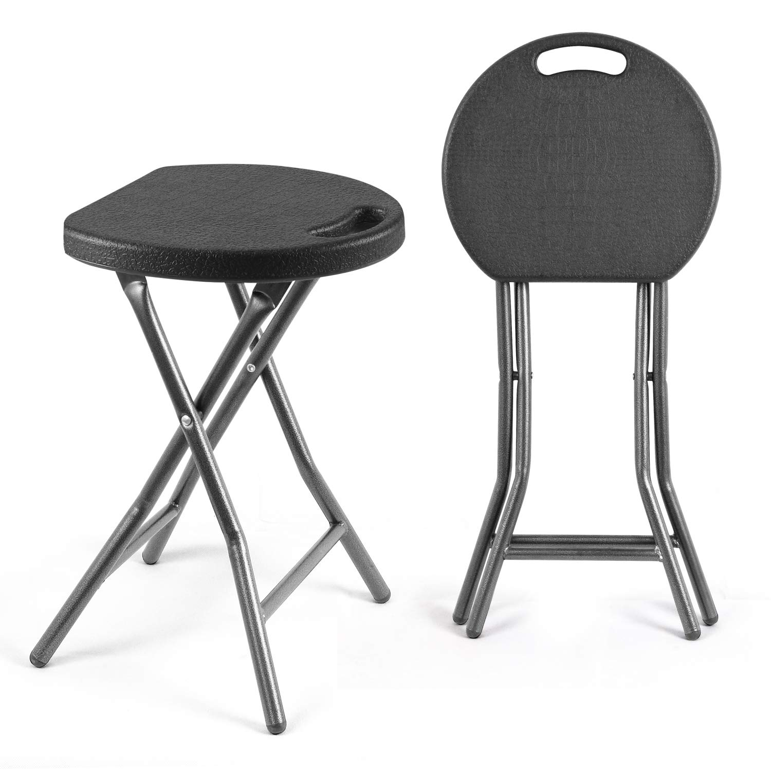 TAVR Portable Folding Stool 18.1 inch Set of 2 Heavy Duty Fold up Stool Metal and Plastic Foldable Stool for Adults Kitchen Garden Bathroom Collapsible Round Stool,300lbs Capacity,Black,CH1001 by TAVR Furniture
