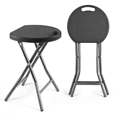 TAVR Portable Folding Stool 18.1 inch Set of 2 Heavy Duty Fold up Stool Metal and Plastic Foldable Stool for Adults Kitchen Garden Bathroom ...