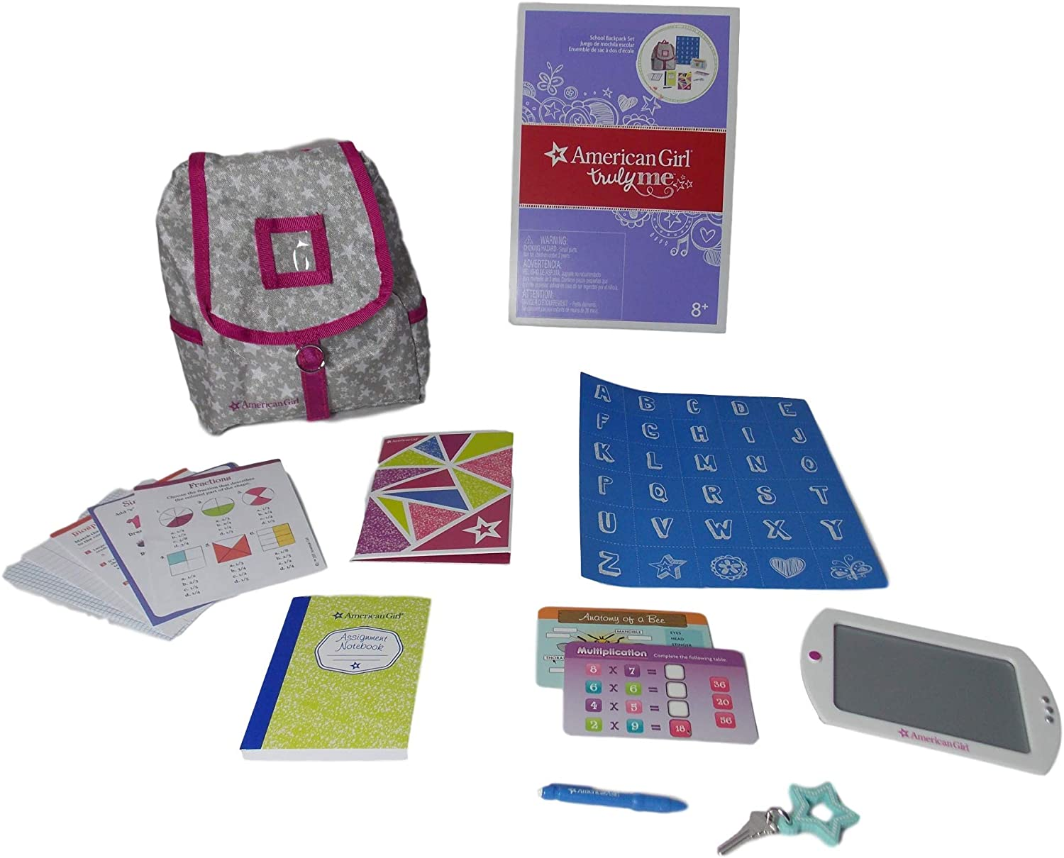"""Sequin Backpack /& School Supplies for American Girl Doll 18/"""" Accessories Fit SET"""