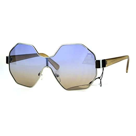 133a84624b Funky Octagonal Shield Retro Oversize Womens Fashion Sunglasses Blue Brown