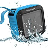 Infinilla Waterproof Bluetooth Speakers, Portable Wireless Speaker for Outdoor, Shower, Beach and Golf, 12 Hour Playtime with FM Radio, Mic, NFC and SD Card Slot - Blue