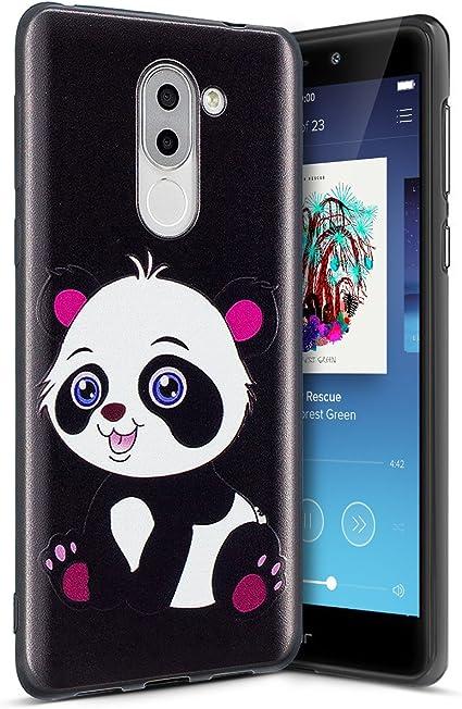 Coque Huawei Honor 6X,Huawei Honor 6X Silicone Étui TPU Housse,Surakey Mince Etui Housse Silicone Noir pour Huawei Honor 6X Coque avec Animé Motif TPU ...