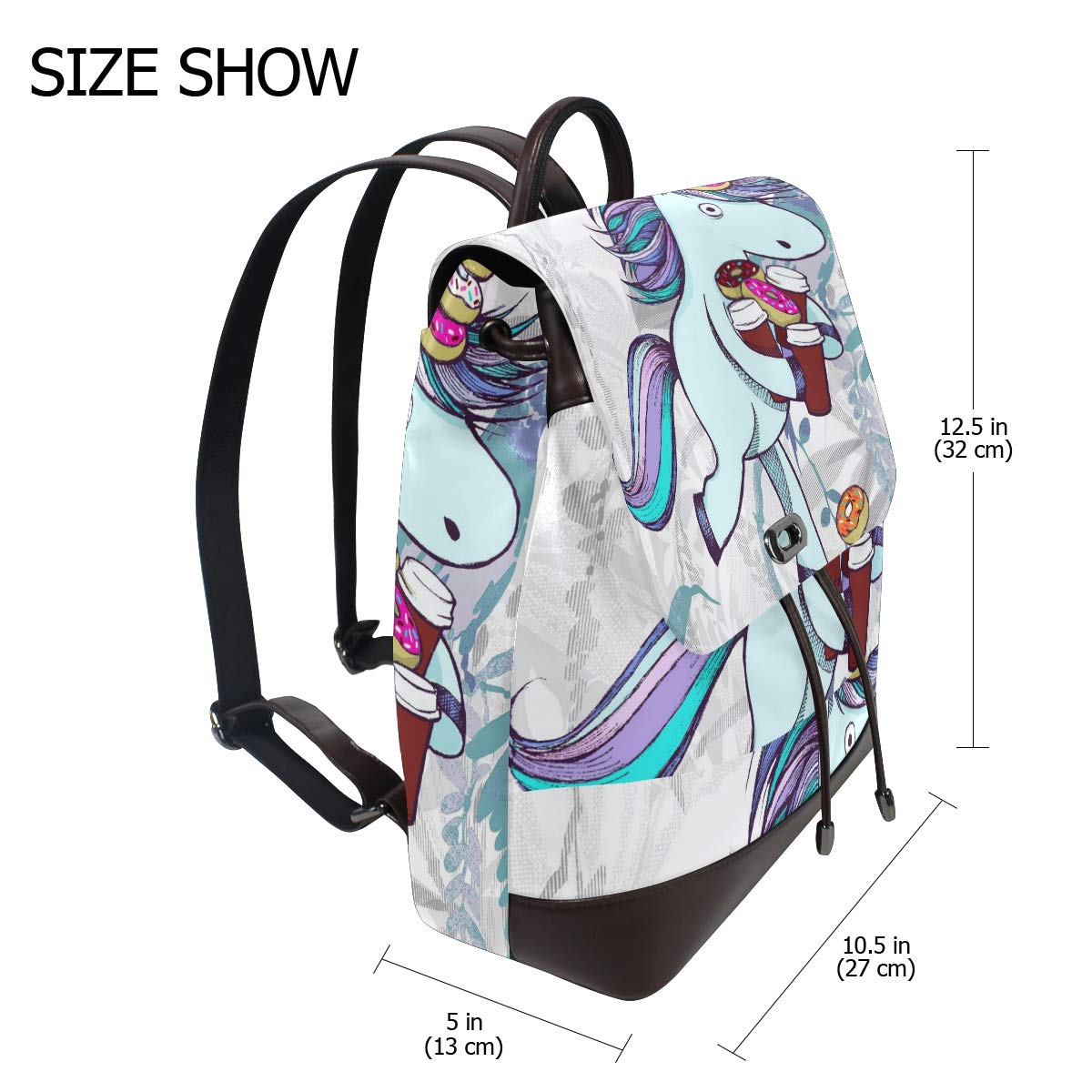 PU Leather Shoulder Bag,Unicorn Shopping Donuts Coffee Backpack,Portable Travel School Rucksack,Satchel with Top Handle