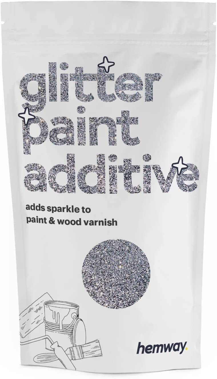 Hemway (Silver) Glitter Paint Additive Crystals 100g / 3.5oz for Acrylic Latex Emulsion Paint - Interior Exterior Wall, Ceiling, Wood, Varnish, Dead Flat, Matte, Gloss, Satin, Silk