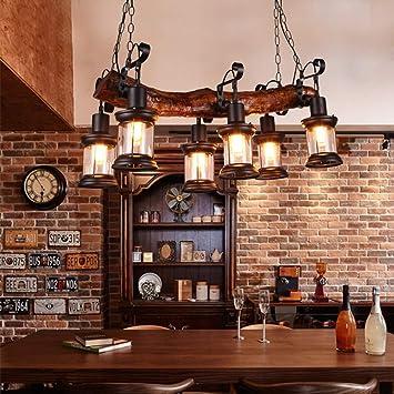 Xiao Fan Lámparas de Madera Vintage Lámparas industriales ...