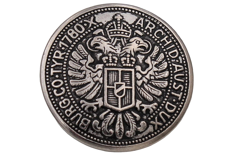 Hartmann Buttons metallo placcato argento annerito moneta Aquila costume giacca con Dirndl Made in Germany (confezione da 6), Silver, 23 mm Hartmann-Knöpfe