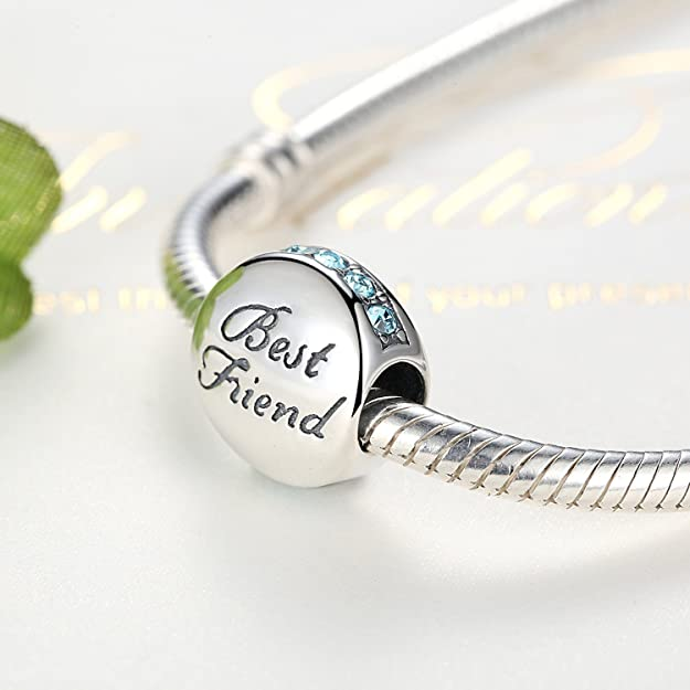 YOUFENG Jewellery Friendship Best Friend BFF Claddagh Charms Bead Blue Crystals Birthstone Charm Fit Snake Chain Bracelet WVDQ0flZ2e
